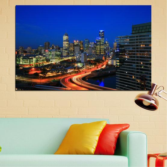 Canvas prints & wall decorative panels - 1 piece №0257 » Blue, Brown, Black, Dark grey » City, Lights, Night, Australia Form #1