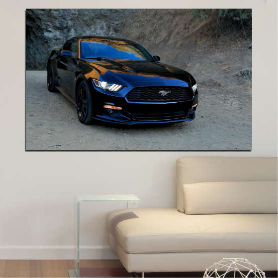 Canvas prints & wall decorative panels - 1 piece №0258 » Blue, Black, Gray, Dark grey » Car, Vehicle, Road Form #1