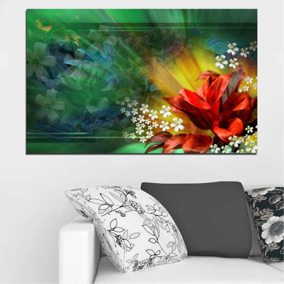 Canvas prints & wall decorative panels - 1 piece №0261 » Red, Green, Brown, Black, Dark grey » Flowers, Abstraction, Collage Form #1