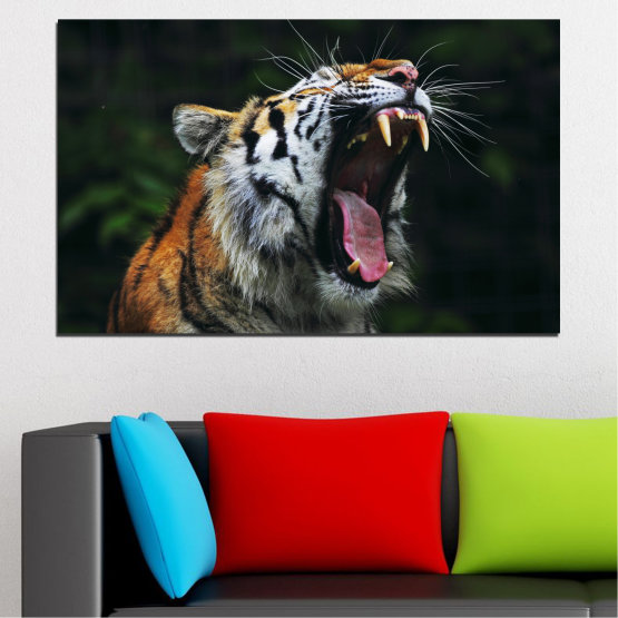 Canvas prints & wall decorative panels - 1 piece №0265 » Brown, Black, Gray, Dark grey » Animal, Portrait, Tiger Form #1