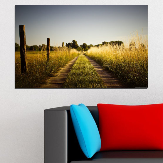 Canvas prints & wall decorative panels - 1 piece №0266 » Brown, Black, Gray, Dark grey » Nature, Landscape, Road, Field Form #1