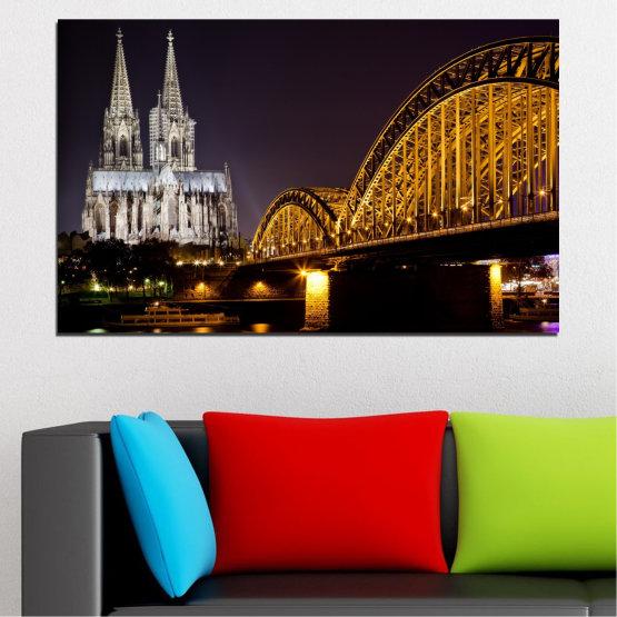 Декоративни панели и картини от канава - от 1 част №0267 » Кафяв, Черен, Сив, Тъмно сив » Град, Нощ, Мост, Германия, Катедрала Form #1