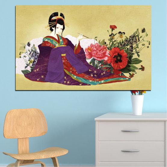 Декоративни панели и картини от канава - от 1 част №0270 » Червен, Зелен, Бял, Бежов, Тъмно сив » Жена, Гейша, Япония Form #1