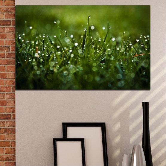 Canvas prints & wall decorative panels - 1 piece №0271 » Green, Black, Dark grey » Nature, Drops, Meadow Form #1