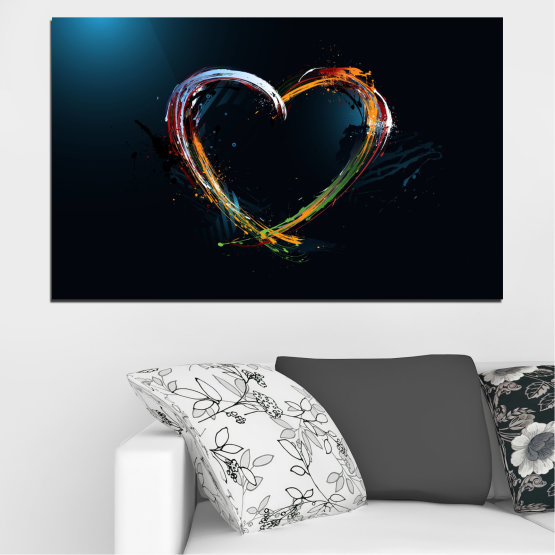 Canvas prints & wall decorative panels - 1 piece №0272 » Red, Blue, Black, White, Dark grey » Abstraction, Heart, Lines Form #1