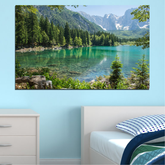 Декоративни панели и картини от канава - от 1 част №0273 » Зелен, Черен, Сив, Тъмно сив » Пейзаж, Гора, Вода, Планина, Езеро, Отражение Form #1