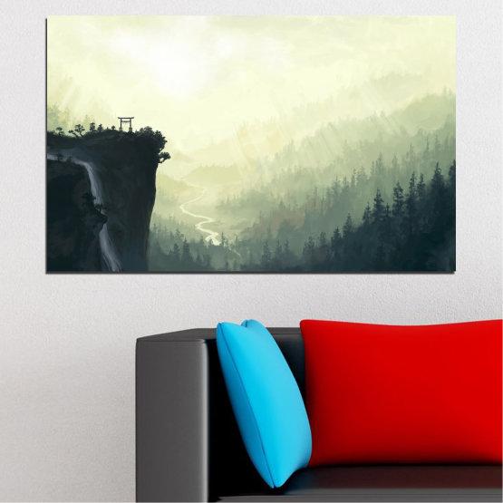 Canvas prints & wall decorative panels - 1 piece №0274 » Black, Gray, White, Beige, Dark grey » Nature, Forest, Mountain, Rocks Form #1