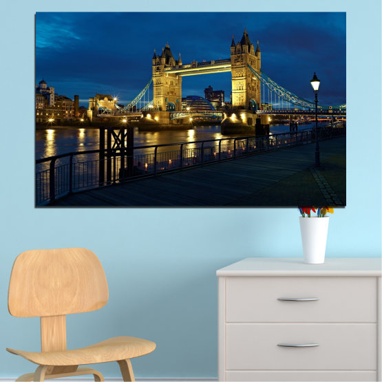 Canvas prints & wall decorative panels - 1 piece №0276 » Blue, Brown, Black, Dark grey » Lights, Night, Bridge, Capital, Great britain Form #1