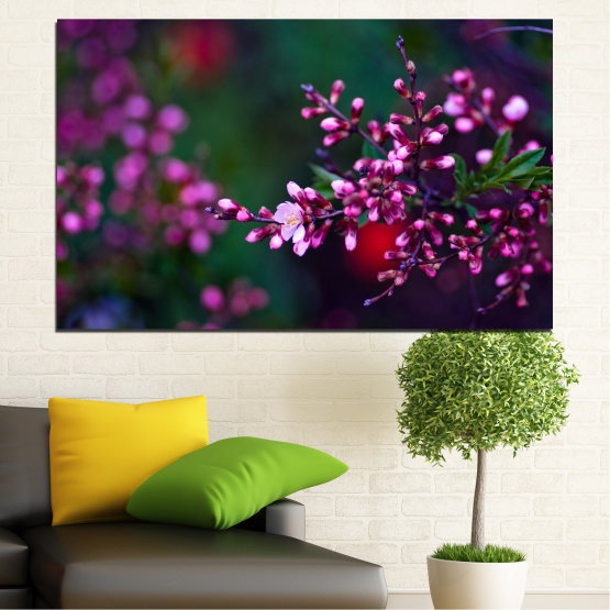 Canvas prints & wall decorative panels - 1 piece №0278 » Red, Purple, Green, Black, Dark grey » Flowers, Spring, Fresh Form #1