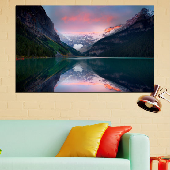 Canvas prints & wall decorative panels - 1 piece №0279 » Black, Gray, Milky pink, Dark grey » Nature, Landscape, Water, Mountain, Reflection Form #1