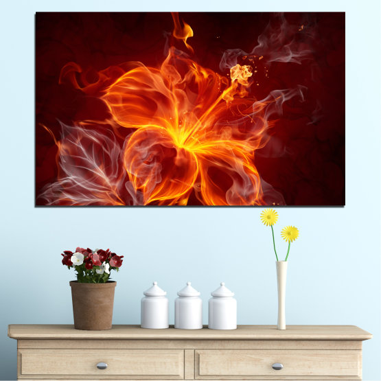 Canvas prints & wall decorative panels - 1 piece №0282 » Red, Brown, Black » Abstraction, Chinese rose, Fire Form #1