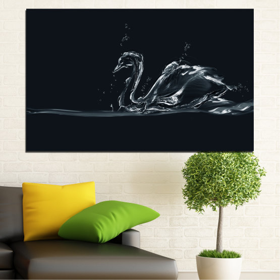 Canvas prints & wall decorative panels - 1 piece №0283 » Black, Gray, White, Dark grey » Abstraction, Water, Swan Form #1