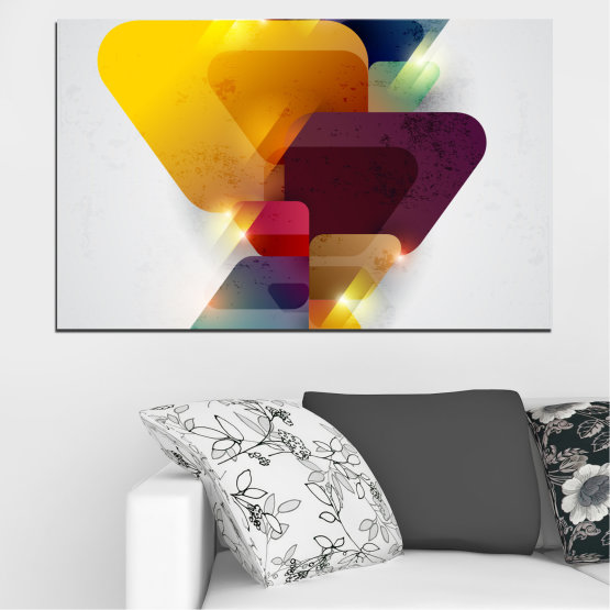 Canvas prints & wall decorative panels - 1 piece №0284 » Yellow, Gray, White, Dark grey » Abstraction, Shine, Colorful Form #1