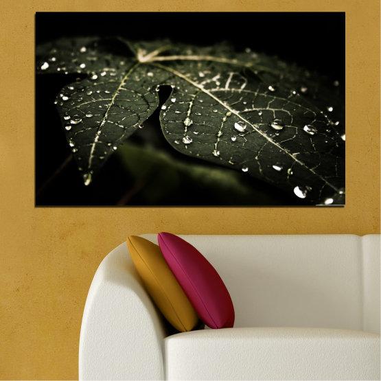 Декоративни панели и картини от канава - от 1 част №0285 » Зелен, Кафяв, Черен, Сив, Тъмно сив » Природа, Капки, Листо Form #1
