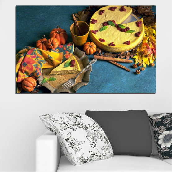 Canvas prints & wall decorative panels - 1 piece №0286 » Yellow, Brown, Black, Dark grey » Culinary, Autumn, Pastry Form #1