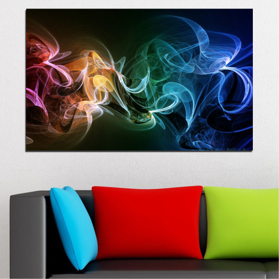 Canvas prints & wall decorative panels - 1 piece №0287 » Blue, Brown, Black, Dark grey » Abstraction, Smoke, Colorful Form #1
