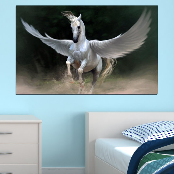 Canvas prints & wall decorative panels - 1 piece №0288 » Brown, Black, Gray, Dark grey » Animal, Horse, Wings Form #1