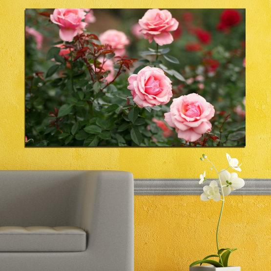 Декоративни панели и картини от канава - от 1 част №0289 » Зелен, Кафяв, Черен, Млечно розов, Тъмно сив » Цветя, Градина, Роза Form #1