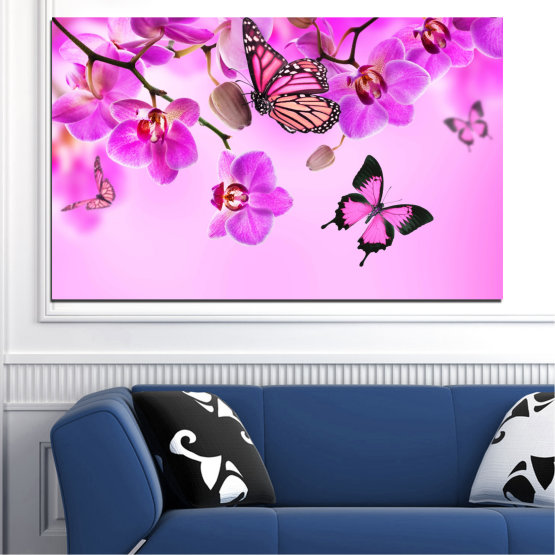 Canvas prints & wall decorative panels - 1 piece №0290 » Pink, Purple, Black, White, Milky pink » Flowers, Orchid, Butterfly Form #1
