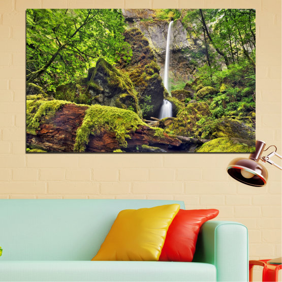 Εκτύπωση σε καμβά και διακοσμητικά πάνελ τοίχου - 1 τεμάχιο №0291 » Πράσινος, Καστανός, Μαύρος, Σκούρο γκρι » Τοπίο, Φύση, Υδατόπτωση, Νερό, Δάσος, Πετρώματα Form #1