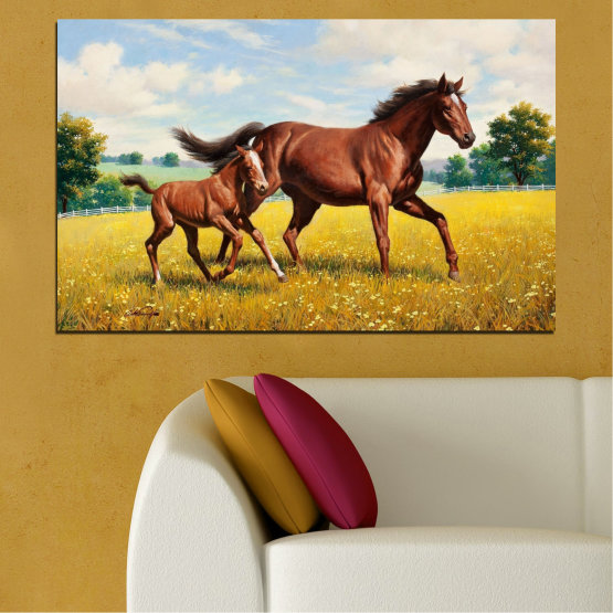 Canvas prints & wall decorative panels - 1 piece №0292 » Green, Brown, Gray, Beige » Animal, Drawing, Horse Form #1