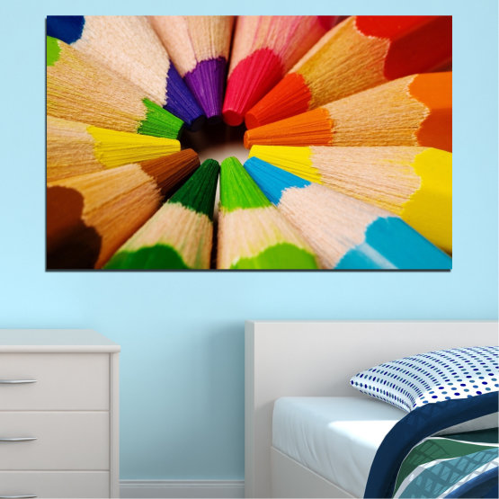 Canvas prints & wall decorative panels - 1 piece №0293 » Green, Yellow, Orange, Black, Beige » Colorful, Bright, Pencils Form #1