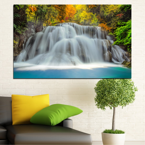 Декоративни панели и картини от канава - от 1 част №0294 » Черен, Сив, Тъмно сив » Природа, Пейзаж, Вода, Водопад, Есен Form #1