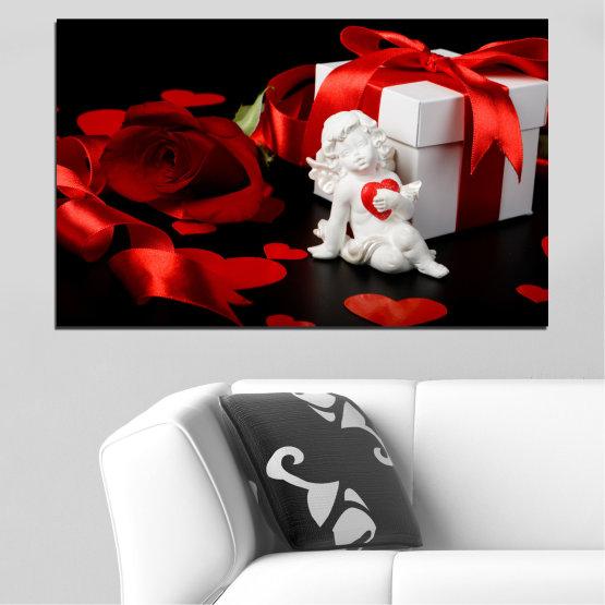 Декоративни панели и картини от канава - от 1 част №0296 » Червен, Черен, Сив » Колаж, Сърце, Купидон Form #1