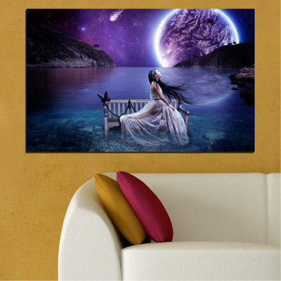 Canvas prints & wall decorative panels - 1 piece №0297 » Purple, Blue, Black, Gray, Dark grey » Woman, Water, Moon, Night Form #1