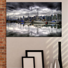 Water, City, Reflection, Boat » Black, Gray, White, Dark grey