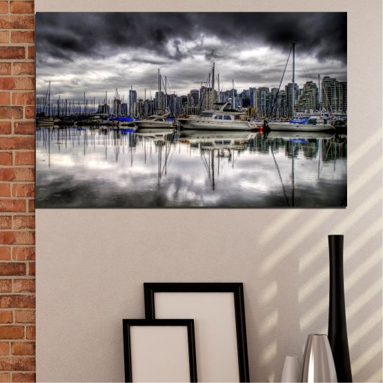 Canvas prints & wall decorative panels - 1 piece №0298 » Black, Gray, White, Dark grey » City, Water, Reflection, Boat Form #1