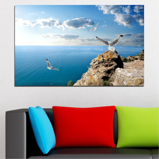 Canvas prints & wall decorative panels - 1 piece №0299 » Blue, Turquoise, Gray, White » Sea, Rocks, Cloud, Seagull Form #1