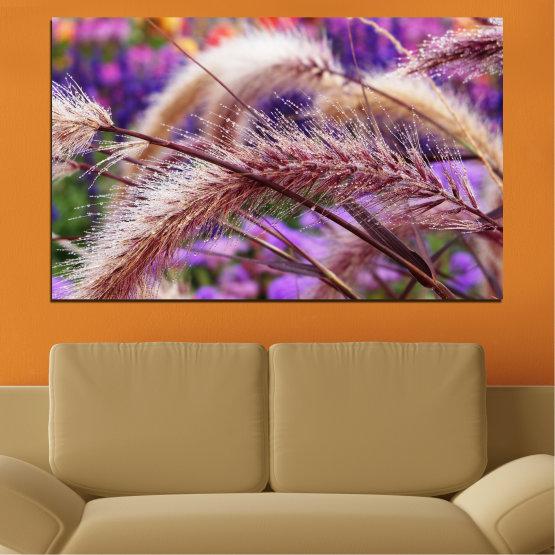 Canvas prints & wall decorative panels - 1 piece №0300 » Purple, Brown, Gray, Dark grey » Nature, Wheatear, Autumn Form #1