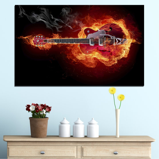 Canvas prints & wall decorative panels - 1 piece №0301 » Red, Orange, Black » Abstraction, Fire, Music, Guitar Form #1