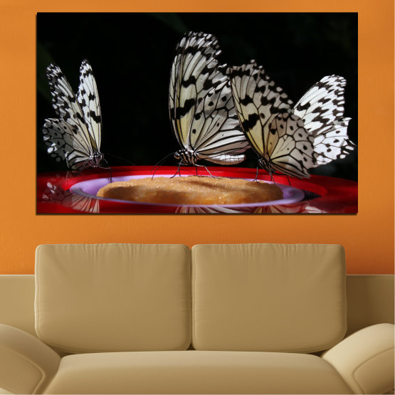 Canvas prints & wall decorative panels - 1 piece №0302 » Red, Brown, Black, Gray, Dark grey » Animal, Butterfly, Night Form #1