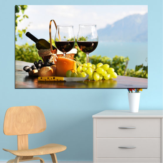 Canvas prints & wall decorative panels - 1 piece №0303 » Black, Gray, White » Culinary, Fruits, Wine, Drink Form #1