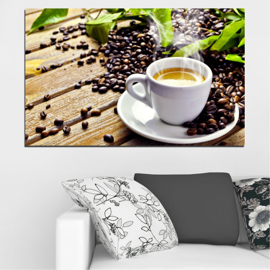 Canvas prints & wall decorative panels - 1 piece №0304 » Brown, Black, Gray, Beige » Culinary, Coffee, Drink Form #1