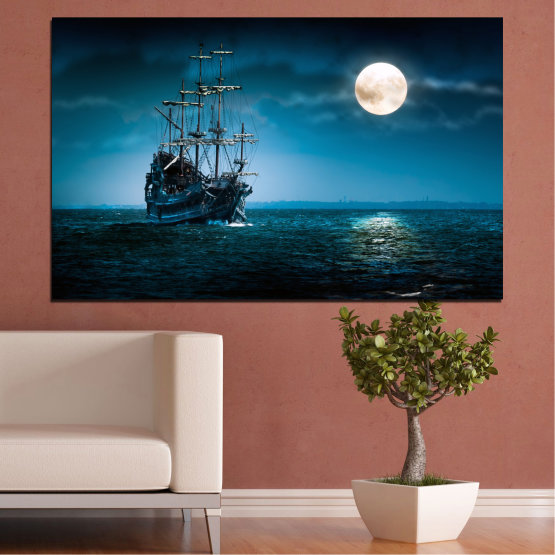 Canvas prints & wall decorative panels - 1 piece №0305 » Blue, Black, Dark grey » Water, Sea, Ship, Night, Moon Form #1