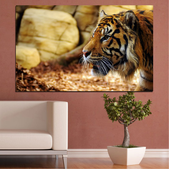 Canvas prints & wall decorative panels - 1 piece №0306 » Green, Brown, Black, Beige » Animal, Rocks, Tiger Form #1