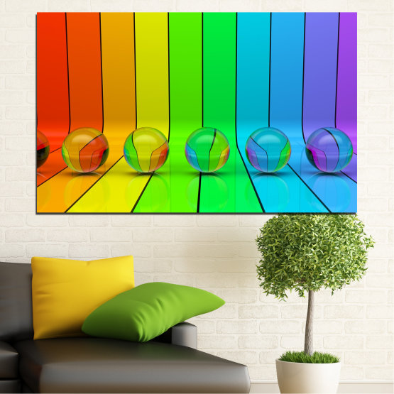 Canvas prints & wall decorative panels - 1 piece №0307 » Blue, Green, Yellow, Orange » Abstraction, Reflection, Colorful, Sphere Form #1