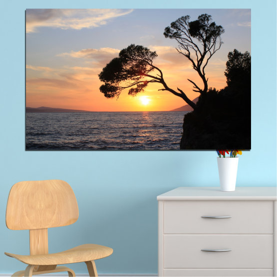 Canvas prints & wall decorative panels - 1 piece №0308 » Black, Gray, Beige, Dark grey » Sea, Water, Sunset, Bay, Tree, Rocks Form #1