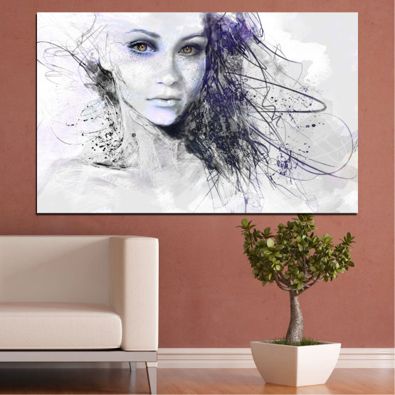 Canvas prints & wall decorative panels - 1 piece №0309 » Gray, White, Dark grey » Woman, Drawing, Fashion, Portrait Form #1