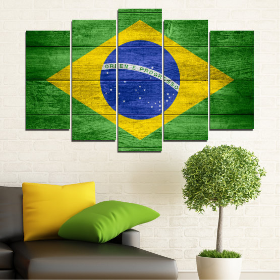 Canvas prints & wall decorative panels - 5 pieces №0098 » Blue, Green, Yellow » Symbol, Brasil, Flag Form #1