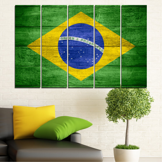 Canvas prints & wall decorative panels - 5 pieces №0098 » Blue, Green, Yellow » Symbol, Brasil, Flag Form #2