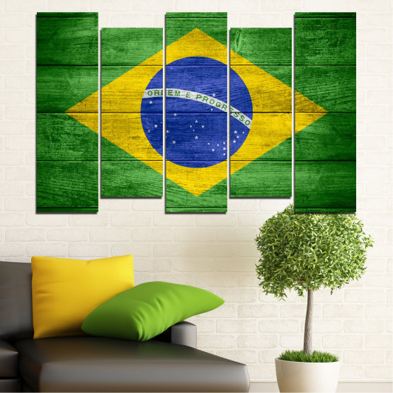 Canvas prints & wall decorative panels - 5 pieces №0098 » Blue, Green, Yellow » Symbol, Brasil, Flag Form #3