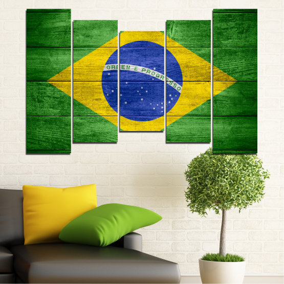 Canvas prints & wall decorative panels - 5 pieces №0098 » Blue, Green, Yellow » Symbol, Brasil, Flag Form #4