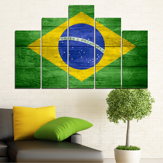 Canvas prints & wall decorative panels - 5 pieces №0098 » Blue, Green, Yellow » Symbol, Brasil, Flag Form #5