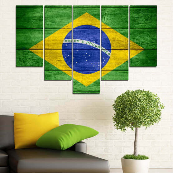 Canvas prints & wall decorative panels - 5 pieces №0098 » Blue, Green, Yellow » Symbol, Brasil, Flag Form #6