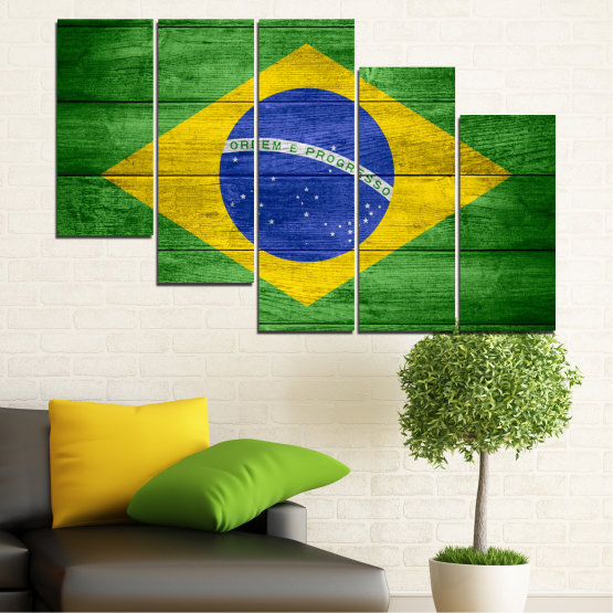 Canvas prints & wall decorative panels - 5 pieces №0098 » Blue, Green, Yellow » Symbol, Brasil, Flag Form #7