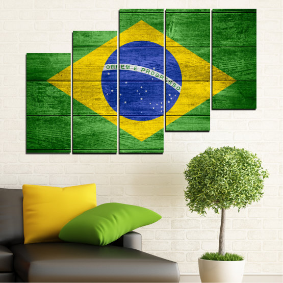 Canvas prints & wall decorative panels - 5 pieces №0098 » Blue, Green, Yellow » Symbol, Brasil, Flag Form #8